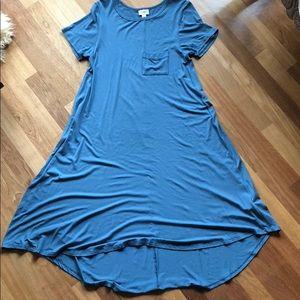 LulaRoe Carly dusty blue dress.